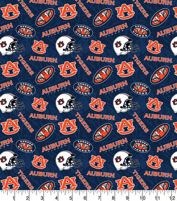 Auburn University Tigers Cotton Fabric-Tone on Tone