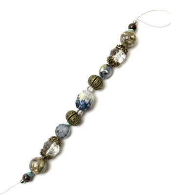 """Jesse James 7"""" Strung Beads-Iroquois Stone Agate Beads"""