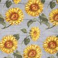 Luxe Fleece Fabric-Sunflowers On Wood