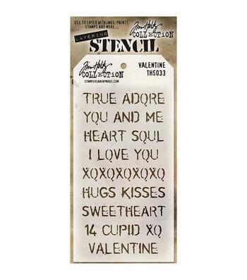 Stampers Anonymous Tim Holtz 8.5''x4.12'' Layered Stencil-Valentine