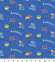 University of Kansas Jayhawks Cotton Fabric -Blue All Over, , hi-res