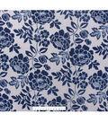No-Sew Throw Fleece Fabric 72\u0022-Gray Navy Federal Floral