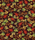 Harvest Cotton Fabric-Tossed Leaves On Brown