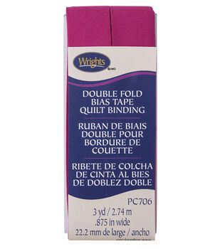 Wrights Double Fold Quilt Binding Bias Tape 7/8''x3 yds-Hot Magenta