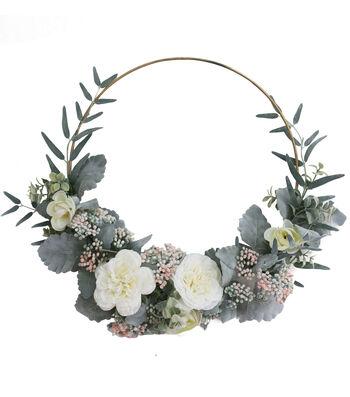 Fresh Picked Spring 23'' Rose & Dusty Miller Wreath