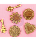 Prima Marketing Wooden Keys & Doilies Icons With Foil