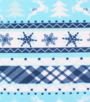 "Anti-Pill Fleece Fabric 61""-Blue Deer Plaid Stripe"