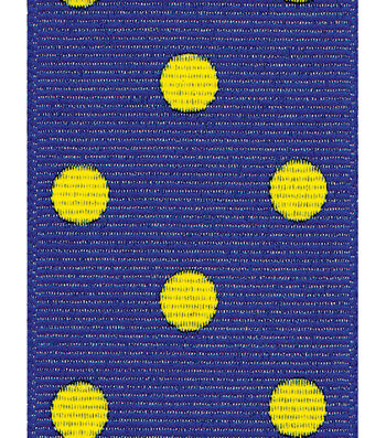 Offray Grosgrain Ribbon 1.5''x9'-Yellow Dippy Dots on Navy