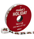 Maker\u0027s Holiday Whimsy Workshop Ribbon 3/8\u0027\u0027x9\u0027-Elf Feet on White