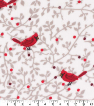 Christmas Anti-Pill Plush Fleece Fabric-Cardinals on Vines