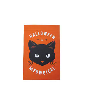 Maker's Halloween 12''x18'' Flag-Halloween is Meowgical & Figural Cat