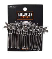hildie & jo Halloween Jewelry Skull & Rose Hair Comb, , hi-res
