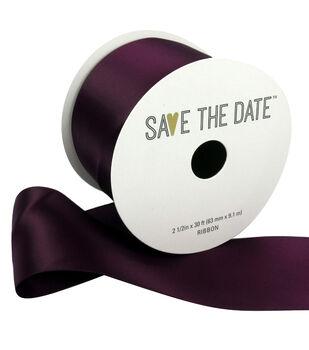 Save the Date Satin Ribbon 2.5''x30'-Plum