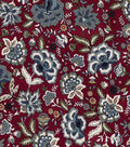 Vintage Cotton Fabric 43\u0027\u0027-Jacobean Floral on Red