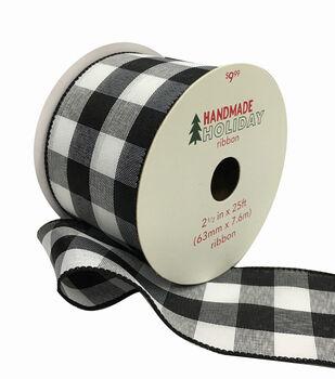 Handmade Holiday Christmas Ribbon 2.5''x25'-Black & White Checks