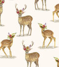 Snuggle Flannel Fabric-Real Deer with Floral Crown