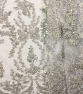 Save The Date Heavily Beaded Fabric 49\u0022-Embroidered White