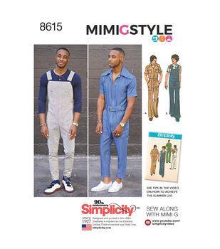 Simplicity Pattern 8615 Men's Jumpsuit & Overalls-Size BB (44-52)