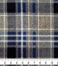 Specialty Luxe Fleece Fabric 43\u0027\u0027-Gray & Navy Plaid