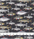 Novelty Cotton Fabric-Painted Fishes on Black
