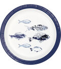 Indigo Mist 8 pk 6.87\u0027\u0027x6.87\u0027\u0027 Batik Printed Lunch Plates-Fishes