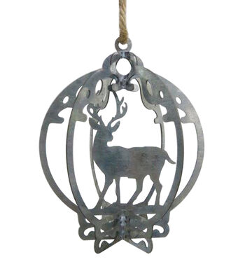 Maker's Holiday Woodland Lodge Galvanized Deer in Bulb Ornament