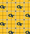Georgia Tech Yellow Jackets Flannel Fabric 42\u0022-Plaid