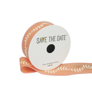 """Save the Date 1.5"""" x 15ft Ribbon-Ivory Fern On Peach"""