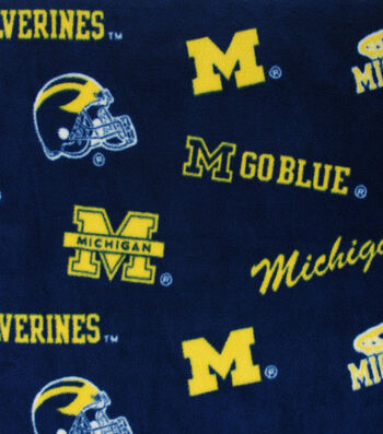 University of Michigan Wolverines Fleece Fabric -Allover Blue