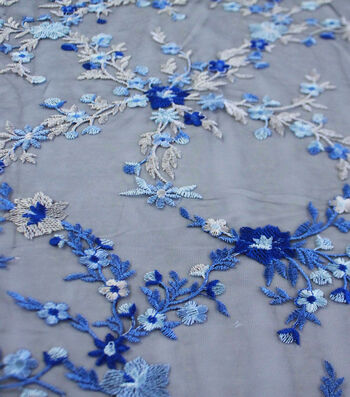 Fabric 54''-Blue Ombre Embroidered Floral Lattice