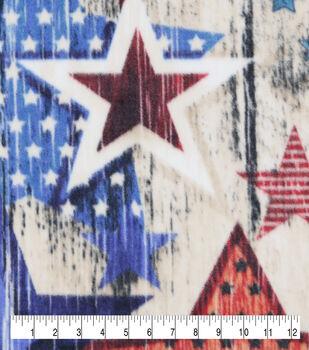 Anti-Pill Plush Fleece Fabric-Textured Stars On Wood