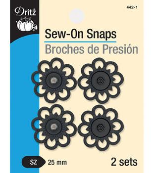 Dritz Sew-On Snaps-Black