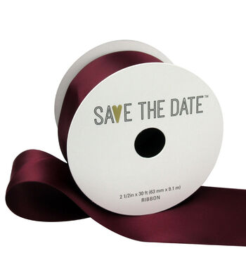 """Save the Date 2.5"""" x 30ft Ribbon-Cranberry Satin"""