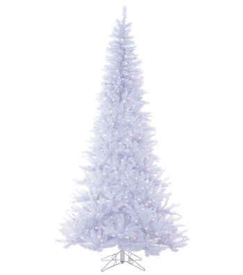 Winter Fir Tree on Metal Stand with Clear Lights 7.5'