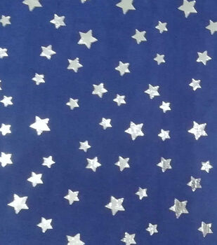 Patriotic Soft & Comfy Fleece Fabric-Metallic Stars on Navy