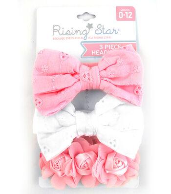 3 Pc Headband- White Lt Pink