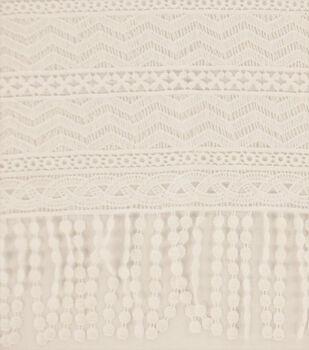 Lace Fabric with Fringe 49''-Ivory