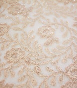Casa Embellish Dahlia Sequin Fabric-Nude Floral