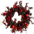 Handmade Holiday Christmas 24\u0027\u0027 Pinecone, Red Bulb & Berry Wreath