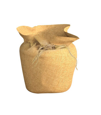In the Garden Burlap Pot Cover with Drawstring-Natural