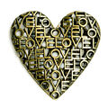 Blue Moon Beads Oxidized Brass Heart Pendant with Love Cutout