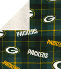 Green Bay Packers Fleece Fabric-Plaid Sherpa