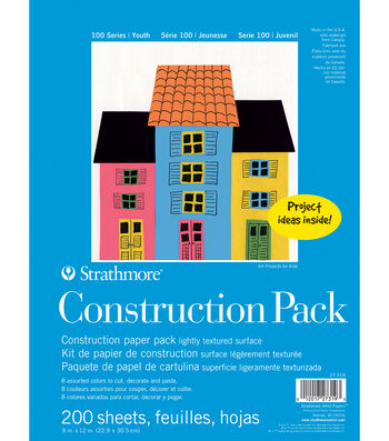 Strathmore 100 Series Construction Pack, 9x12, 200 Sheets, 8 Colors