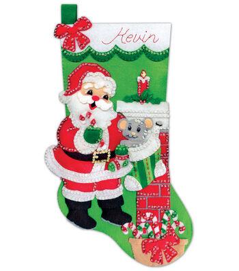 Design Works Crafts 18'' Stocking Applique Felt Kit-Santa with Mouse