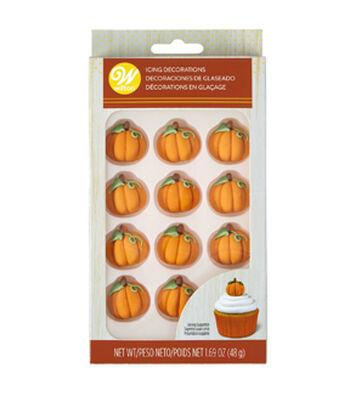 Wilton Royal Icing Decorations 12/Pkg-3D Pumpkins