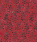 Maker\u0027s Holiday Cotton Print Batik Fabric 44\u0027\u0027-Red Pine Trees