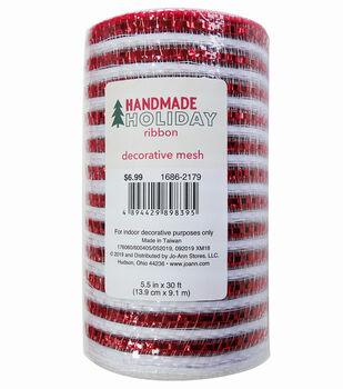 Handmade Holiday Decorative Mesh Ribbon 5.5''x30'-Red & White Stripes