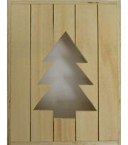 """Fab Lab 8""""x10""""x2"""" Rustic Wood Crate with Christmas Tree Cut Out, , hi-res"""