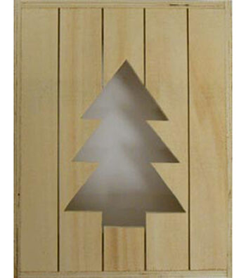 "Fab Lab 8""x10""x2"" Rustic Wood Crate with Christmas Tree Cut Out"