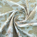 Amaretto Linen Fabric 57\u0027\u0027-Gold Foil Folk Floral on White
